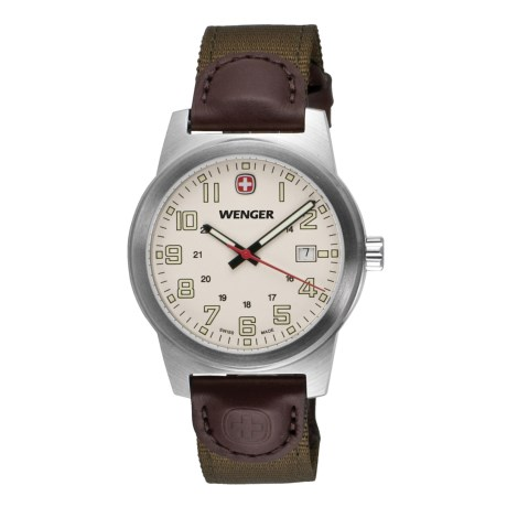 Wenger Classic Field Swiss Quartz Watch - Leather and Nylon Strap