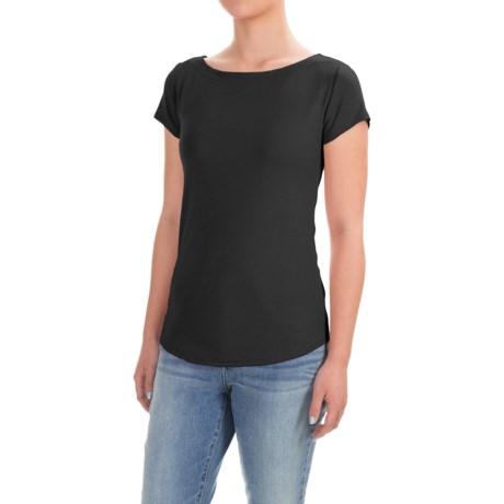 Workshop Republic Clothing Bateau Neck Shirt - Cotton-Modal, Short Sleeve (For Women)