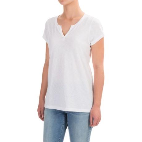 Mercer & Madison Slub-Knit T-Shirt - Split Neck, Short Sleeve (For Women)