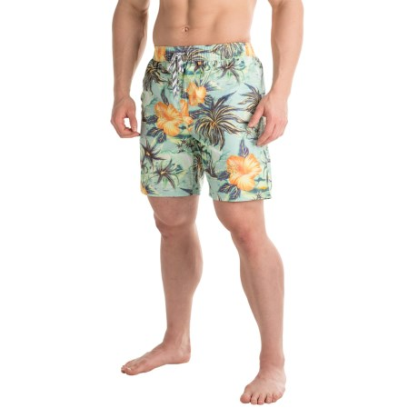 Maui & Sons Maui and Sons Island Oasis Floral Swim Trunks - Built-In Briefs (For Men)