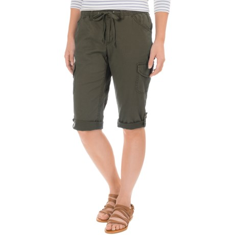 Specially made Stretch-Woven Drawstring Cargo Capris (For Women)