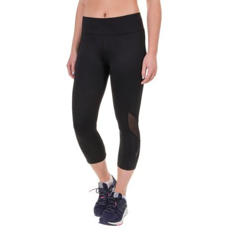 Head Reflective Mesh Capri Leggings (For Women)