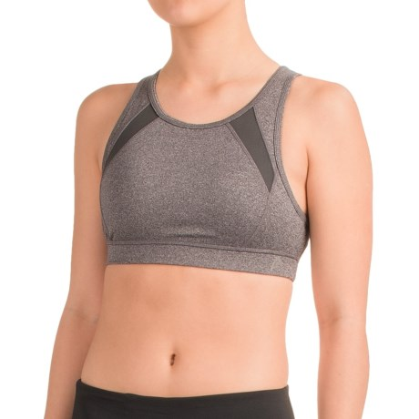 Head Mesh-Trimmed Sports Bra - Medium Impact, Removable Cups, Racerback (For Women)