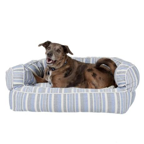"Live Love Bark Stripe Bolster Dog Bed - 36x27"""