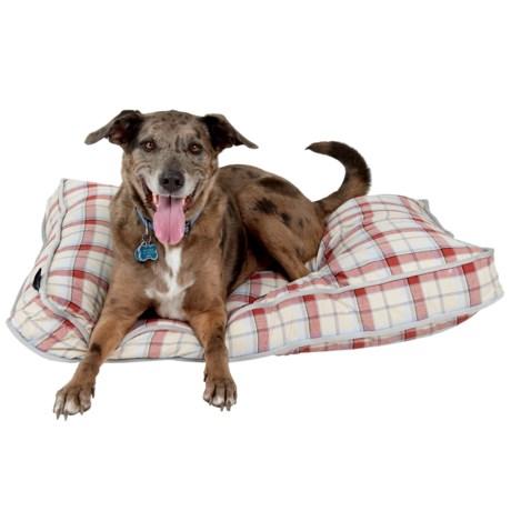 "Live Love Bark Natural Plaid Rectangle Dog Bed - 40x28"""