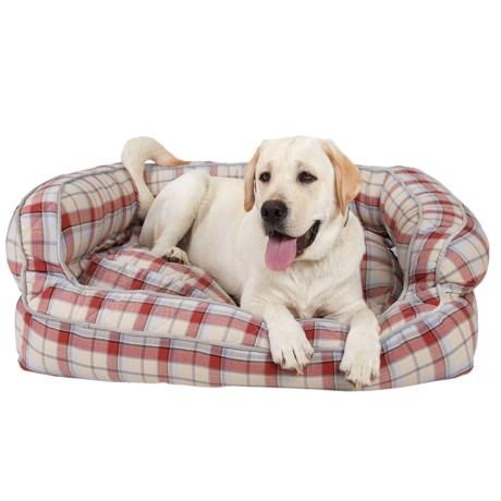 "Live Love Bark Natural Plaid Bolster Dog Bed -36x27"""