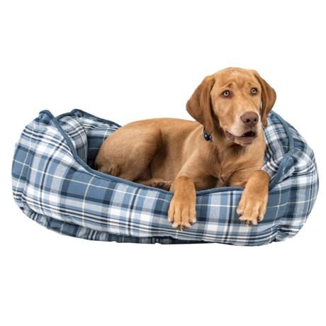 "Live Love Bark Big Plaid Reversible Lounger Dog Bed - 28x22"""