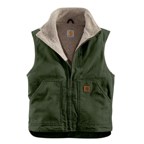 Carhartt Sandstone Mock Neck Vest - Sherpa Lining, Factory Seconds (For Tall Men)