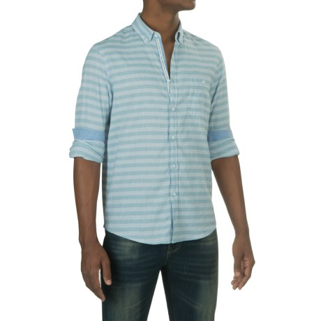 Report Collection Horizontal Stripe Sport Shirt - Cotton-Linen, Long Sleeve (For Men)