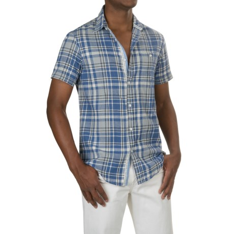 Report Collection Plaid Linen-Cotton Sport Shirt - Short Sleeve (For Men)
