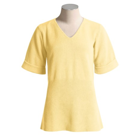 Avalin Cotton Sweater - V-Neck, Elbow Sleeve (For Women)