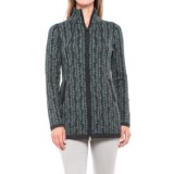 Cynthia Rowley Double-Knit Leafy Cardigan Sweater - Zip Front (For Women)