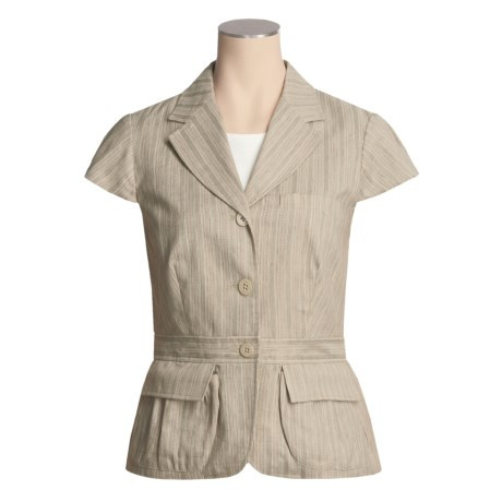 Asara Washed Linen-Cotton Jacket - Short Sleeve (For Women)