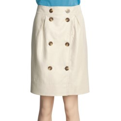 Magaschoni Button-Front Skirt - Coated Linen (For Women)