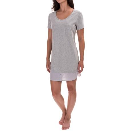 Max Studio Stripe Back Nightshirt - Scoop Neck, Short Sleeve (For Women)