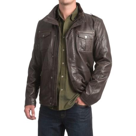 Bod & Christensen Sheepskin Leather Aviator Jacket - Sherpa Collar (For Men)