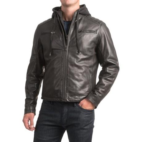 Bod & Christensen Sheepskin Leather Moto Jacket - Detachable Hood (For Men)