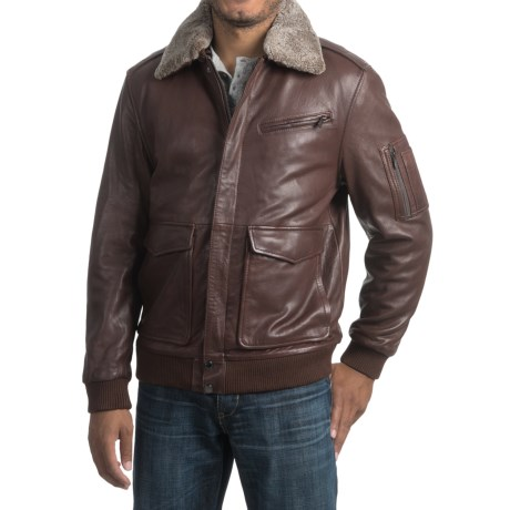 Bod & Christensen Leather Bomber Jacket (For Men)