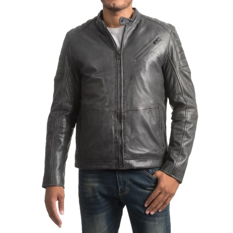 Bod & Christensen Atlantic Style Moto Jacket - Sheepskin Leather, Mesh Lining (For Men)