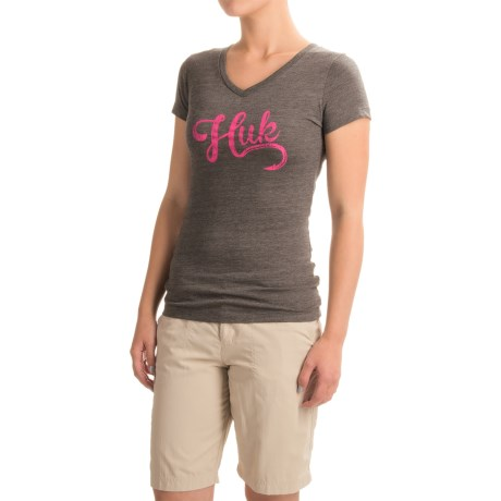 Huk Script-Logo T-Shirt - V-Neck, Short Sleeve (For Women)