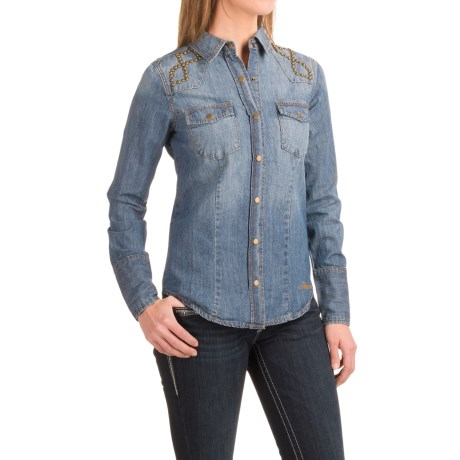 Stetson Studded Denim Western Shirt - Snap Front, Long Sleeve (For Women)