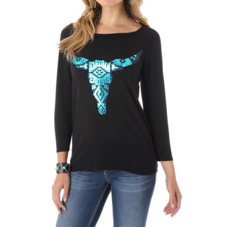 Wrangler Foil Steerhead Knit Shirt - 3/4 Sleeve (For Women)