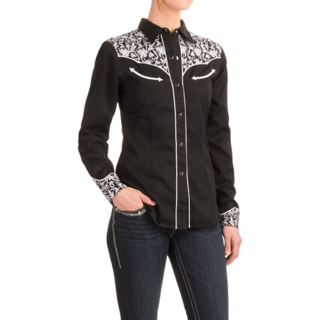 Roper Leaf Embroidered Western Shirt - Snap Front, Long Sleeve (For Women)