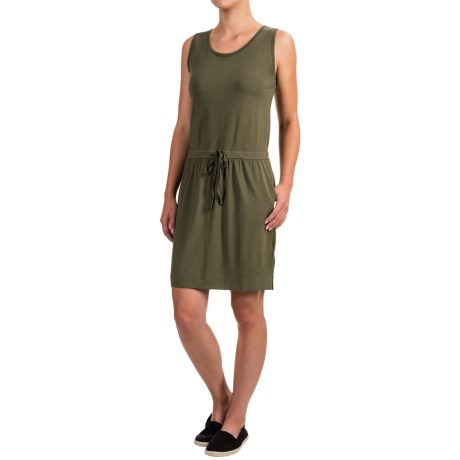 Dakini Solid Drawstring Tank Dress - Rayon, Sleeveless (For Women)