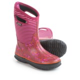 Bogs Footwear Classic Flowers and Stripes Insulated Rain Boots - Waterproof (For Big Girls)