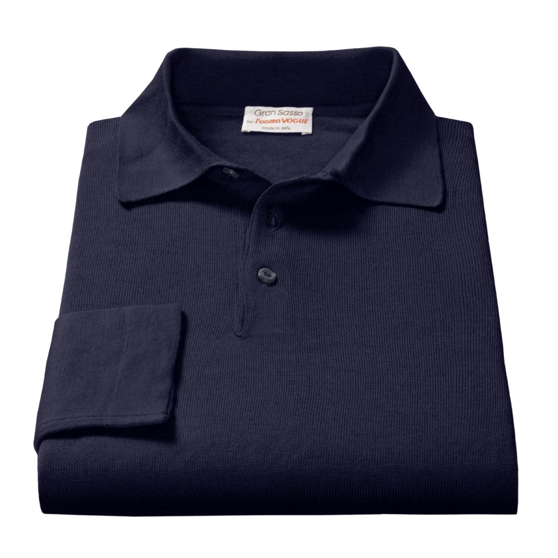 Gran sasso polo shirt men 2265k save 52 for Long sleeve wool polo shirts
