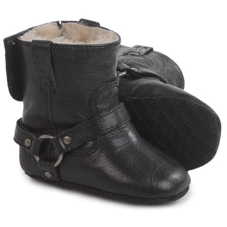 Small Frye Shearling Harness Booties - Leather (For Infants)