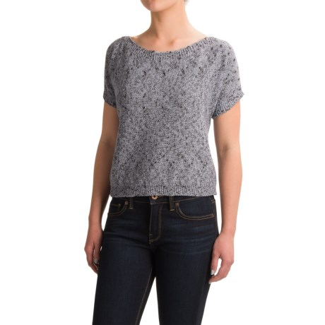 dylan Texture Spring Sweater - Boat Neck, Short Sleeve (For Women)