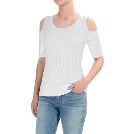 Jeanne Pierre Cold-Shoulder Wide-Ribbed Shirt - Cotton, Short Sleeve (For Women)