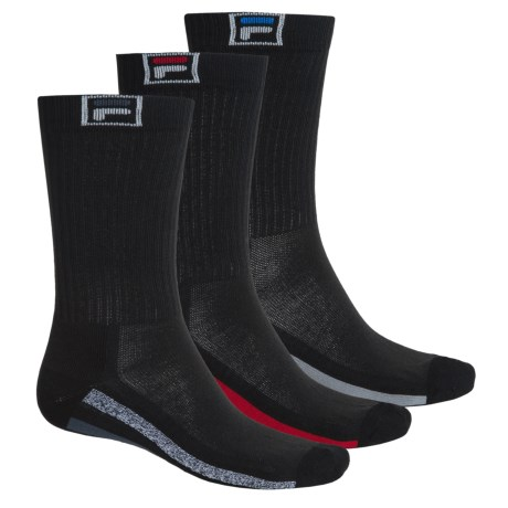 Fila Descend Stripes Socks - 3-Pack, Crew (For Men)