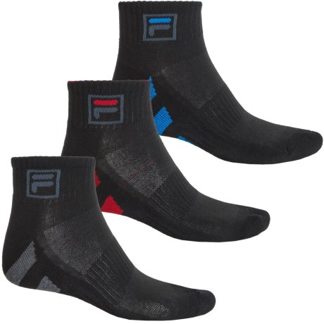 Fila Striped Sole Socks - 3-Pack, Quarter Crew (For Men)