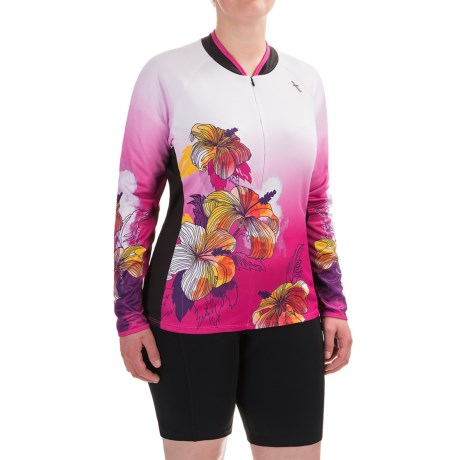 Shebeest Bellissima Hibiscus Cycling Jersey - UPF 45+, Zip Neck, Long Sleeve (For Plus Size Women)