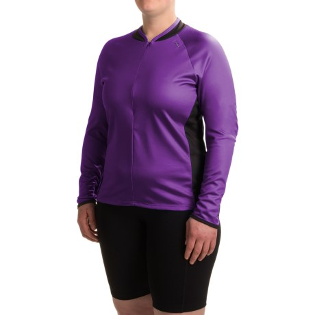 Shebeest Bellissima Solid Cycling Jersey - UPF 45+, Zip Neck, Long Sleeve (For Plus Size Women)