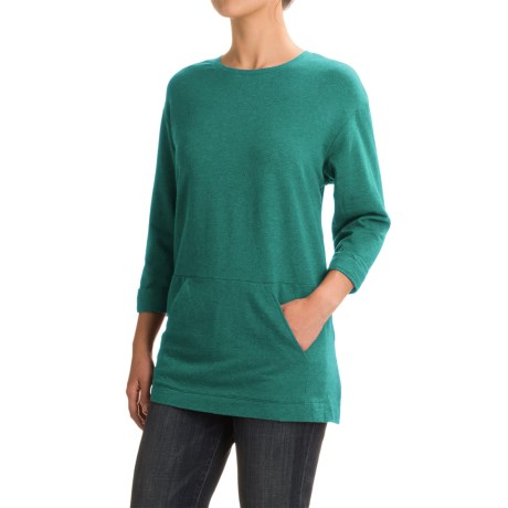 Specially made French Terry Pouch Pocket Tunic Shirt - Scoop Neck, Long Sleeve (For Women)
