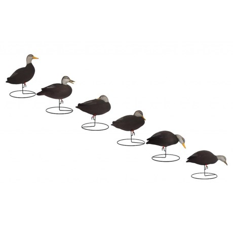 Hardcore Pro-Series Full Body Black Duck Touchdown Decoys - 6-Pack
