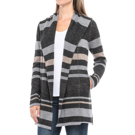 Max Studio Striped Hooded Cardigan Sweater - Merino Wool Blend (For Women)