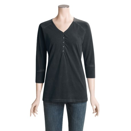 Pulp Cotton Henley Shirt - 3/4 Sleeve (For Women)