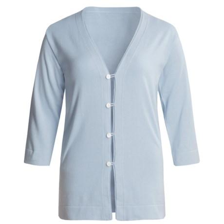 Joan Vass Tropical Jersey Cardigan Sweater - 3/4 Sleeve (For Regular-Plus Size Women)