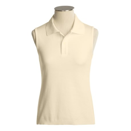 Joan Vass Cotton Polo Shirt - Sleeveless (For Women)