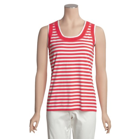 Joan Vass Cotton-Rich Cardigan Shell - Striped (For Women)