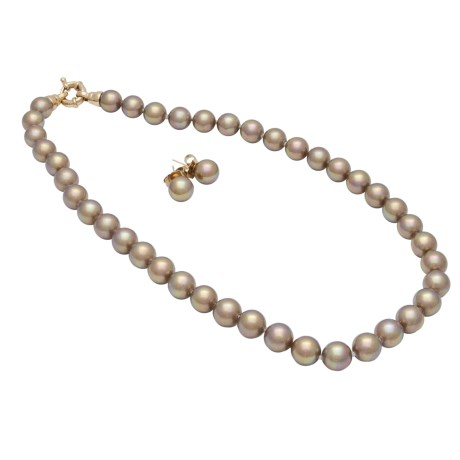 Joia de Majorca Necklace and Earrings Set - 10mm Latte Organic Pearls
