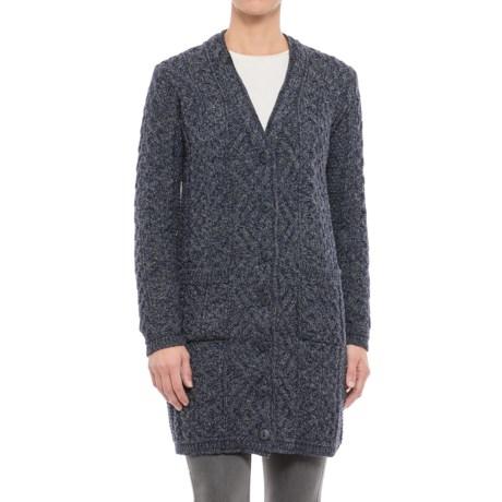 Aran Mor V-Neck Cardigan Sweater - Merino Wool (For Women)