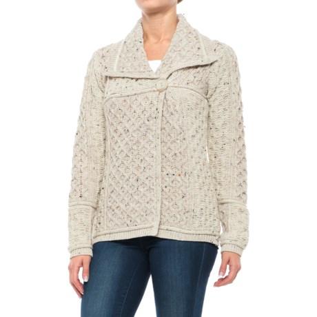 Aran Mor Short One-Button Cardigan Sweater - Merino Wool (For Women)