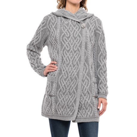 Aran Mor One-Button Hooded Cardigan Sweater - Merino Wool (For Women)