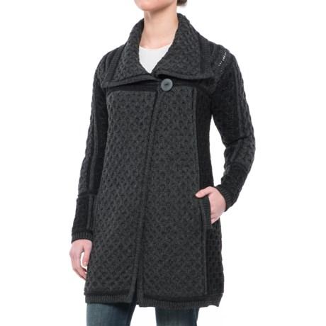 Aran Craft One-Button Plated Cardigan Sweater - Merino Wool (For Women)