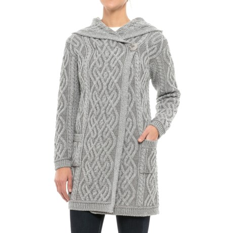 Aran Craft s Plaited One-Button Cardigan Sweater - Merino Wool (For Women)